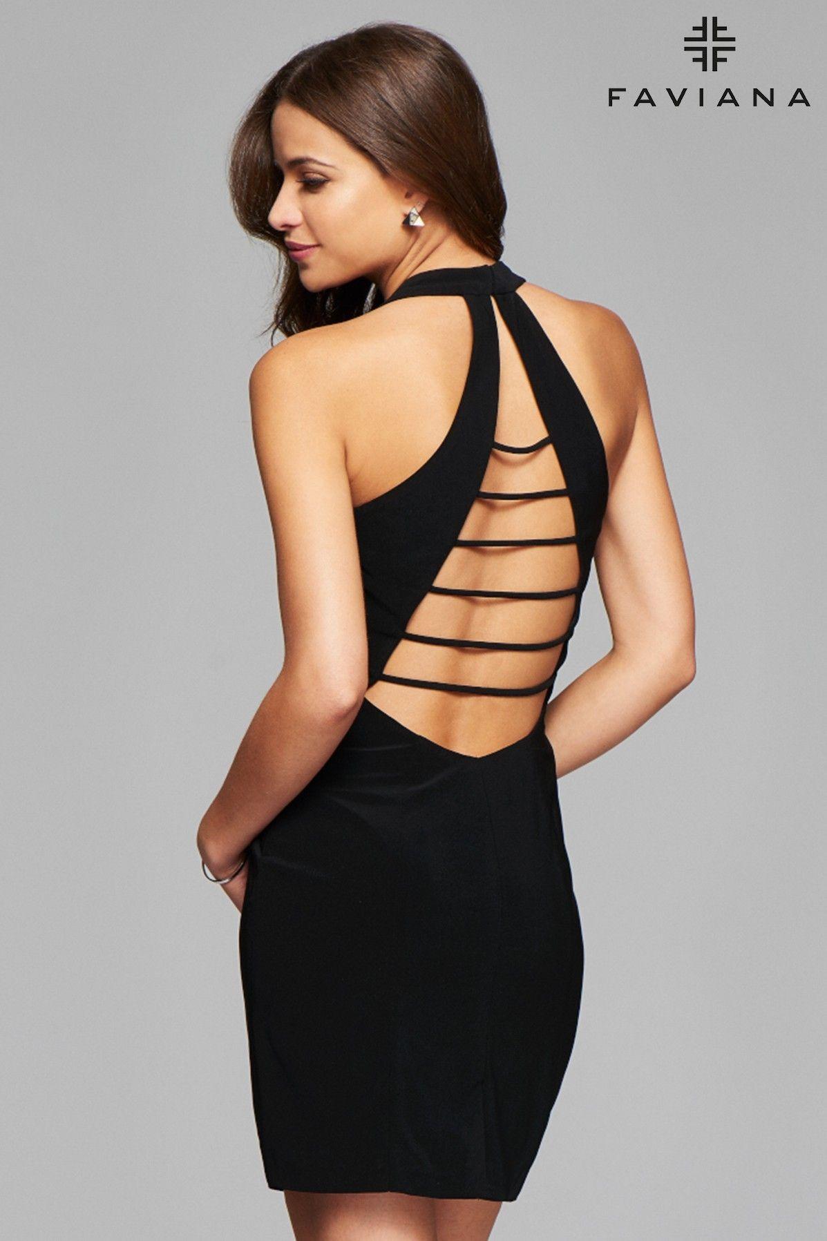 caf43d0ca7 Short v-neck cocktail dress with strappy back