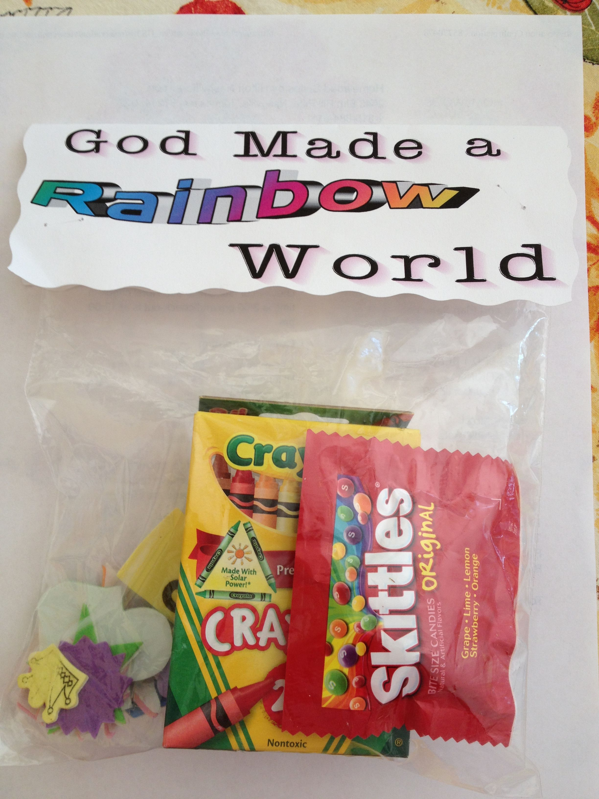 Treat bag during Creation. As we eat skittles, they have to name ...