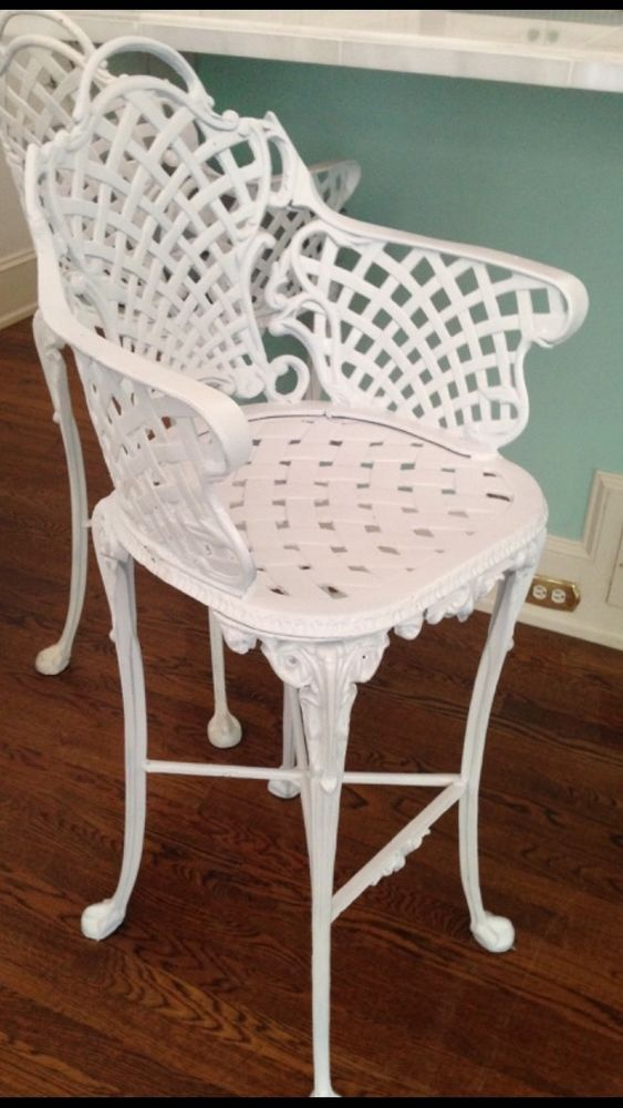 6bef9fb3c0ca4 Vintage Victorian White Ornate Wrought Iron Chair Indoor Outdoor Barstool