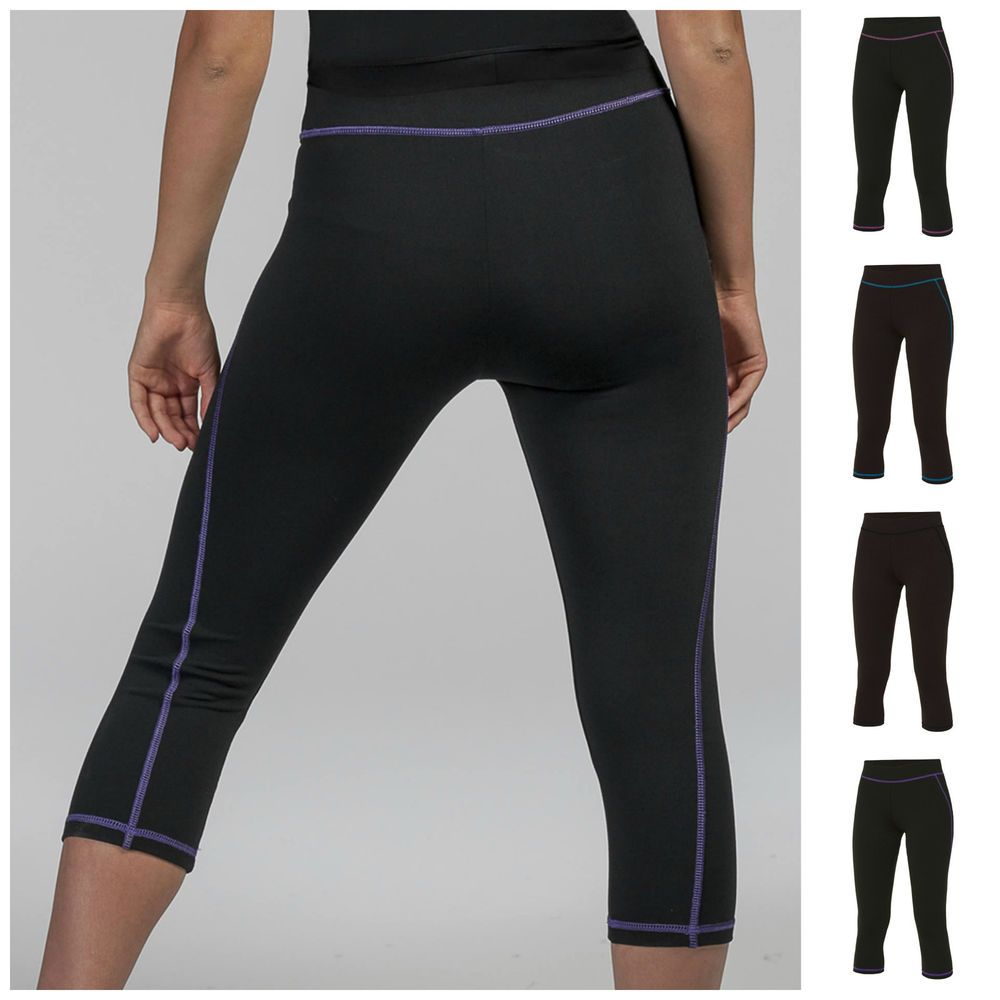 Womens Capri 3//4 Leggings Ladies Three Quarter Jersey Gym Fitness Workout Pants