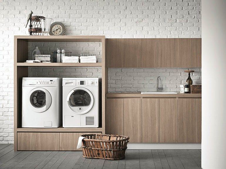 Waschküche-Schrank aus Ulme für Waschmaschine IDROBOX Kollektion