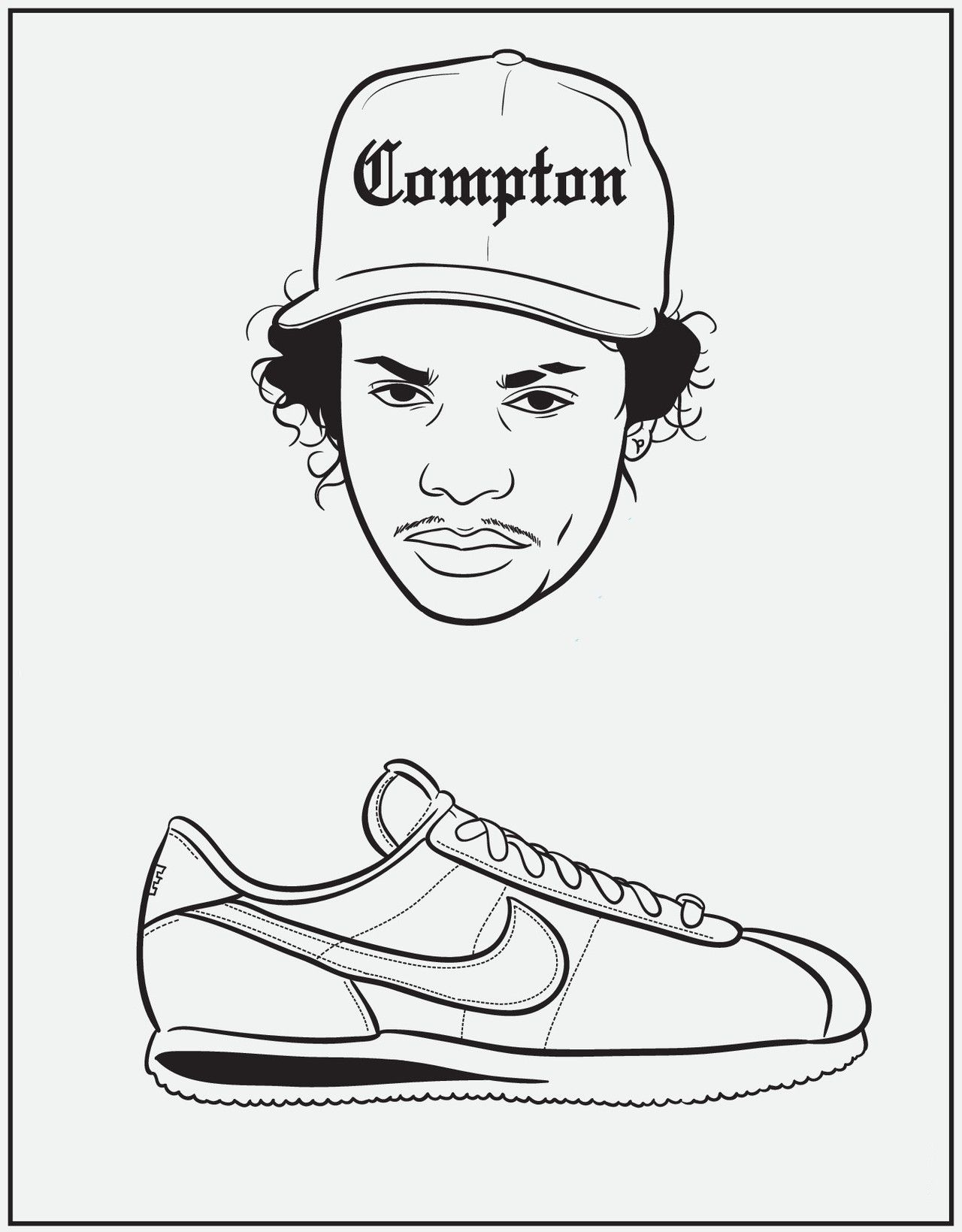 Eazy E Nike Cortez From Bun B S Rap Coloring And Activity Book Coloring Books Coloring Pages Color