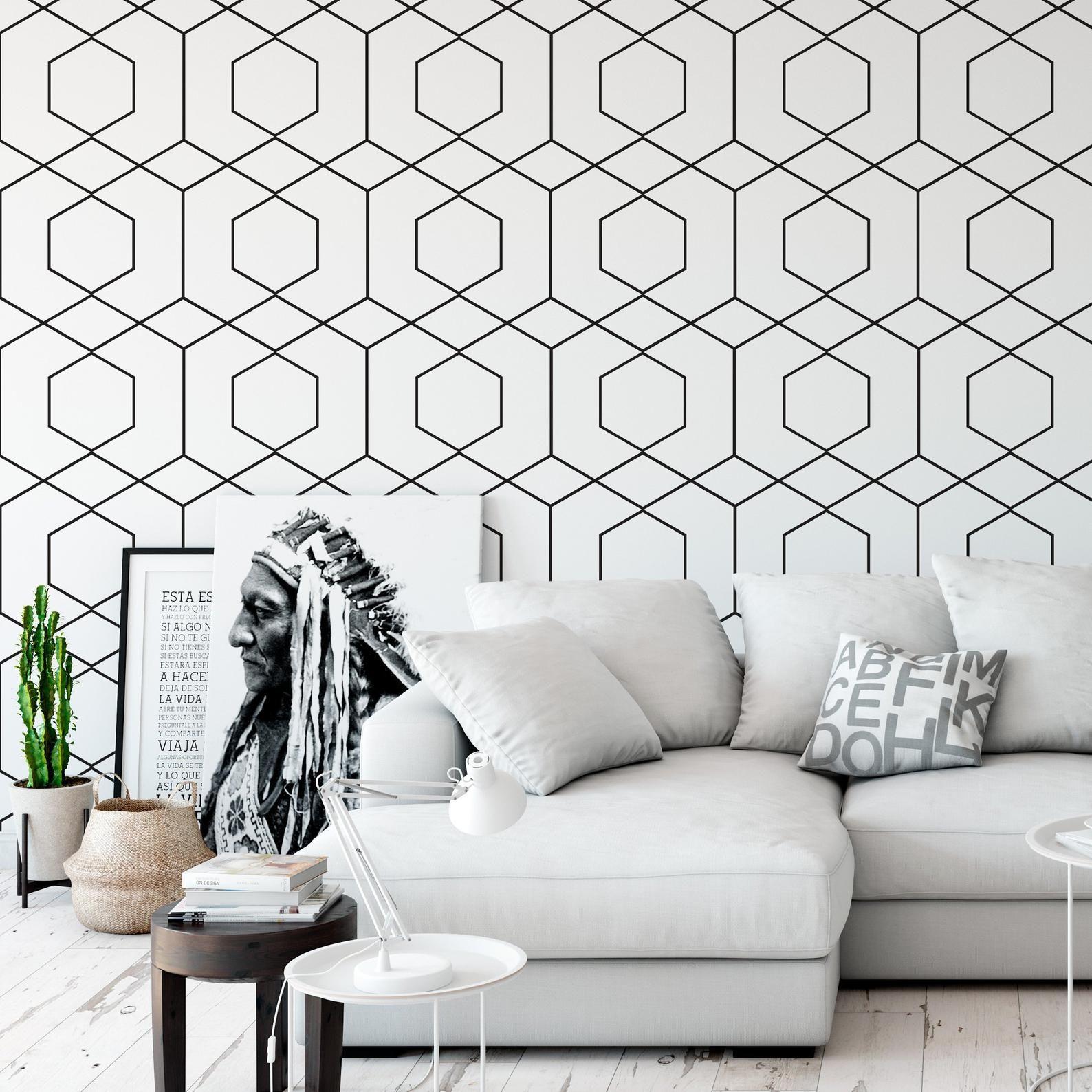 Geometric Hexagons Wallpaper Roll Black And White Wallpaper Etsy Geometric Hexagon Wallpaper Hexagon Wallpaper Black And White Wallpaper