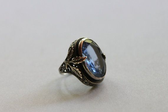 1920s Ring / Vintage 20s Sterling Cocktail Ring / Art Deco Silver Faceted Dinner Ring on Etsy, $88.00