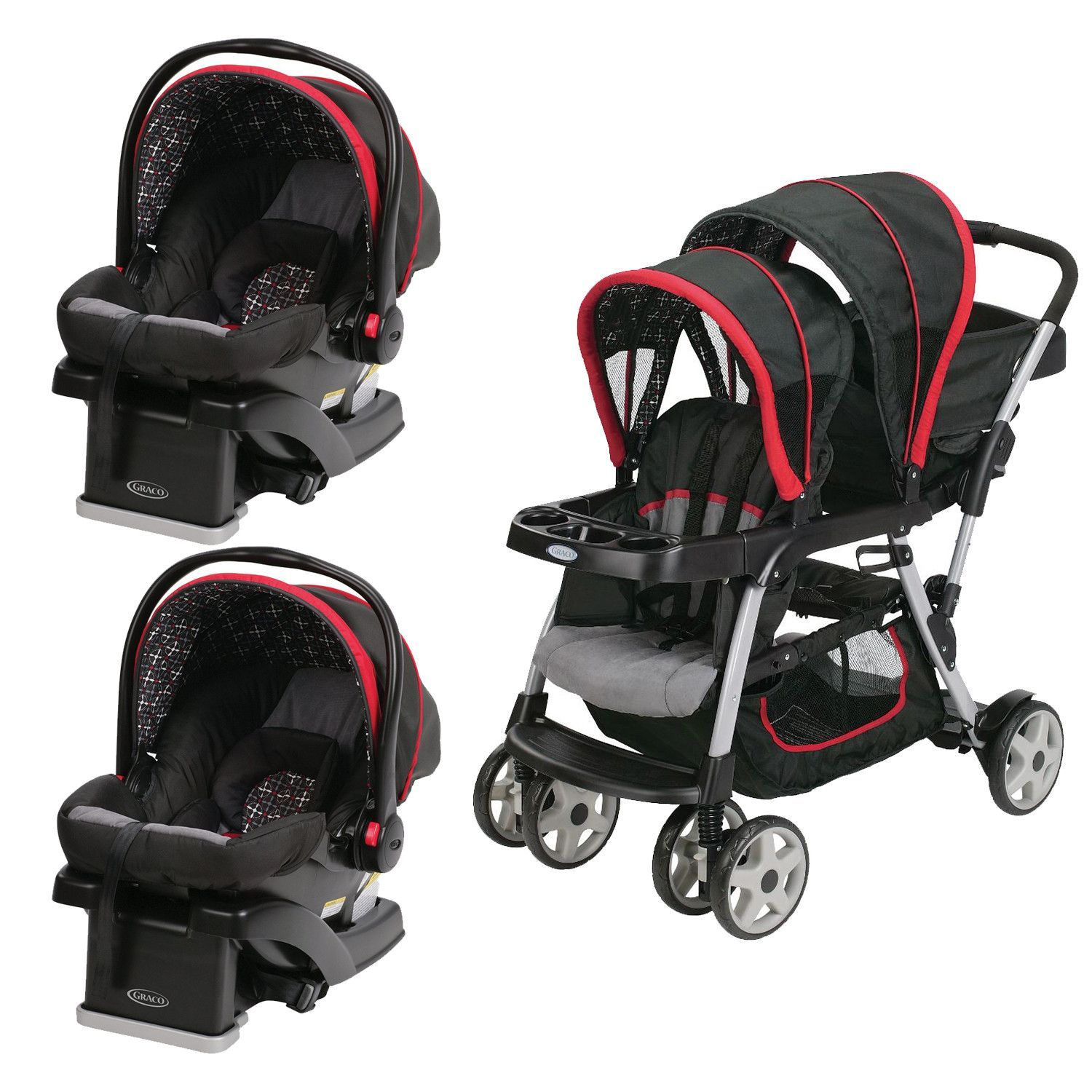Graco Red Double Seated Twin Stroller and 2 Car Seats