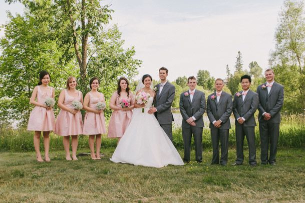pink bridesmaid dresses grey suits groomsmen - Wedding/Honeymoon ...