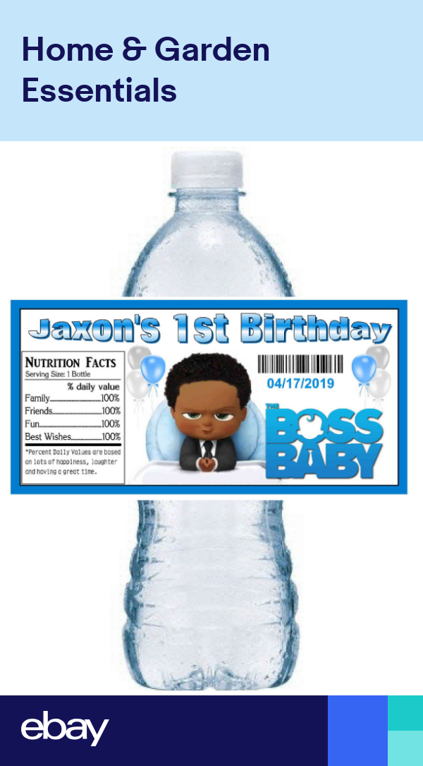 20 The Boss Baby Birthday Party Favors Water Bottle Labels African American Party Favors Baby Birthday Boss Baby Baby Birthday Party Boy