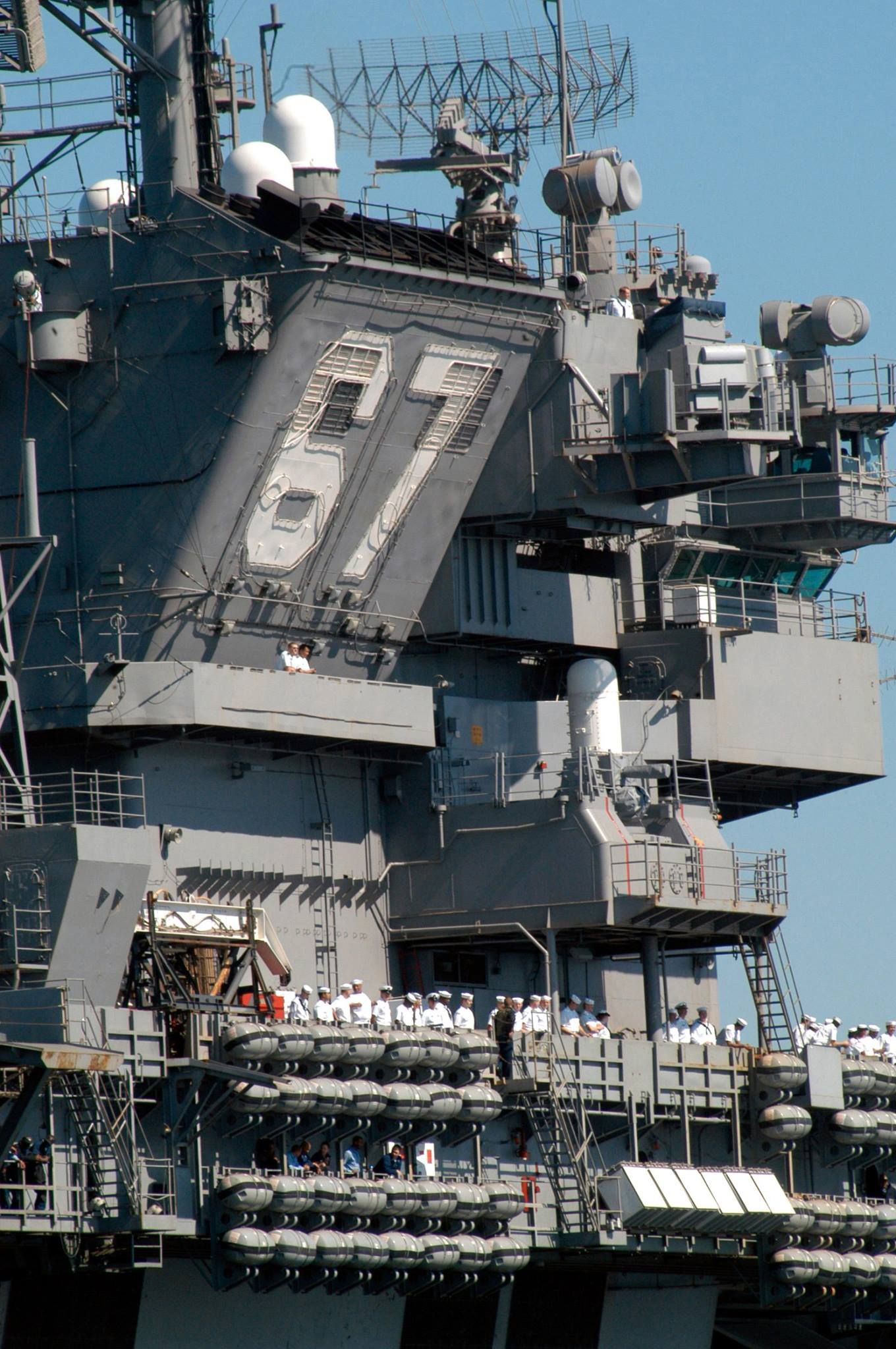 a close up view of the island superstructure aboard u s