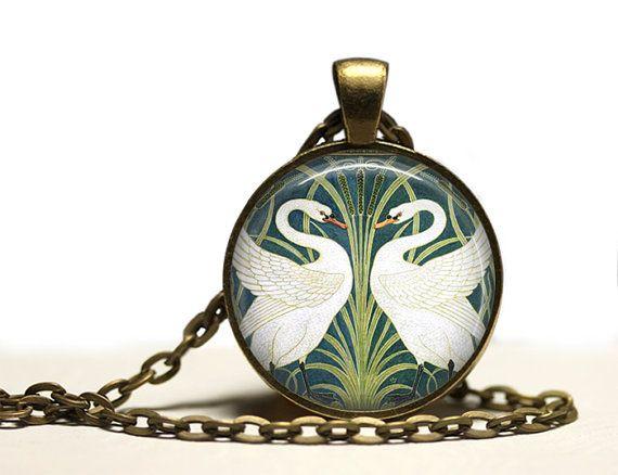 Nouveau Swans pendant Bird necklace Animal jewelry