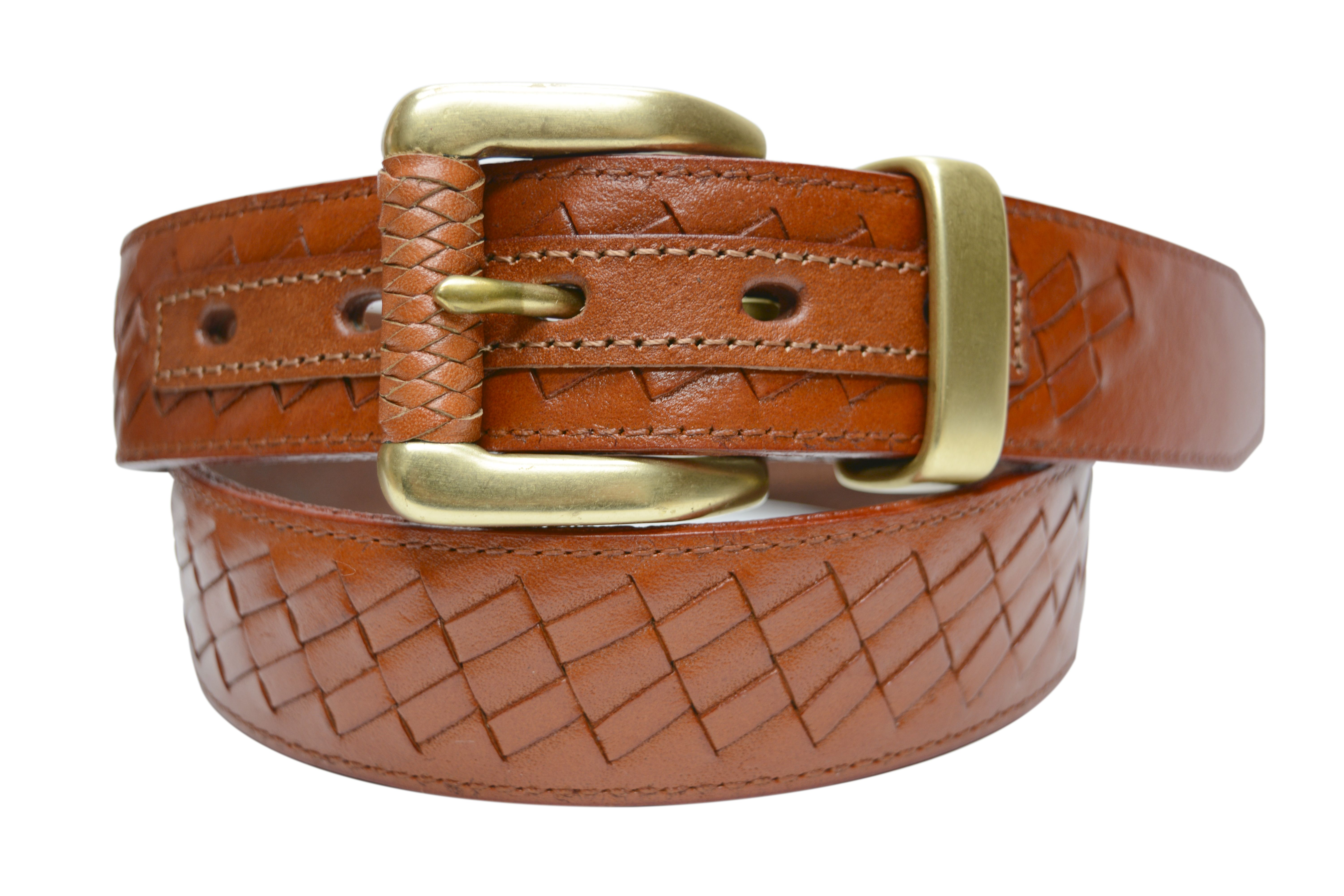 Tb798 Men S Woven Stitched Full Grain Leather Belt With Braided