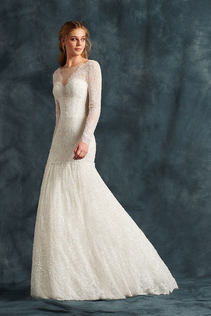 Mermaid wedding dress in bright lace entirely hand embroidered with sequins - Atelier Eme 2017 Wedding Dresses | fabmood.com #weddingdress #ateliereme #bridal #bride #weddingdresses2017