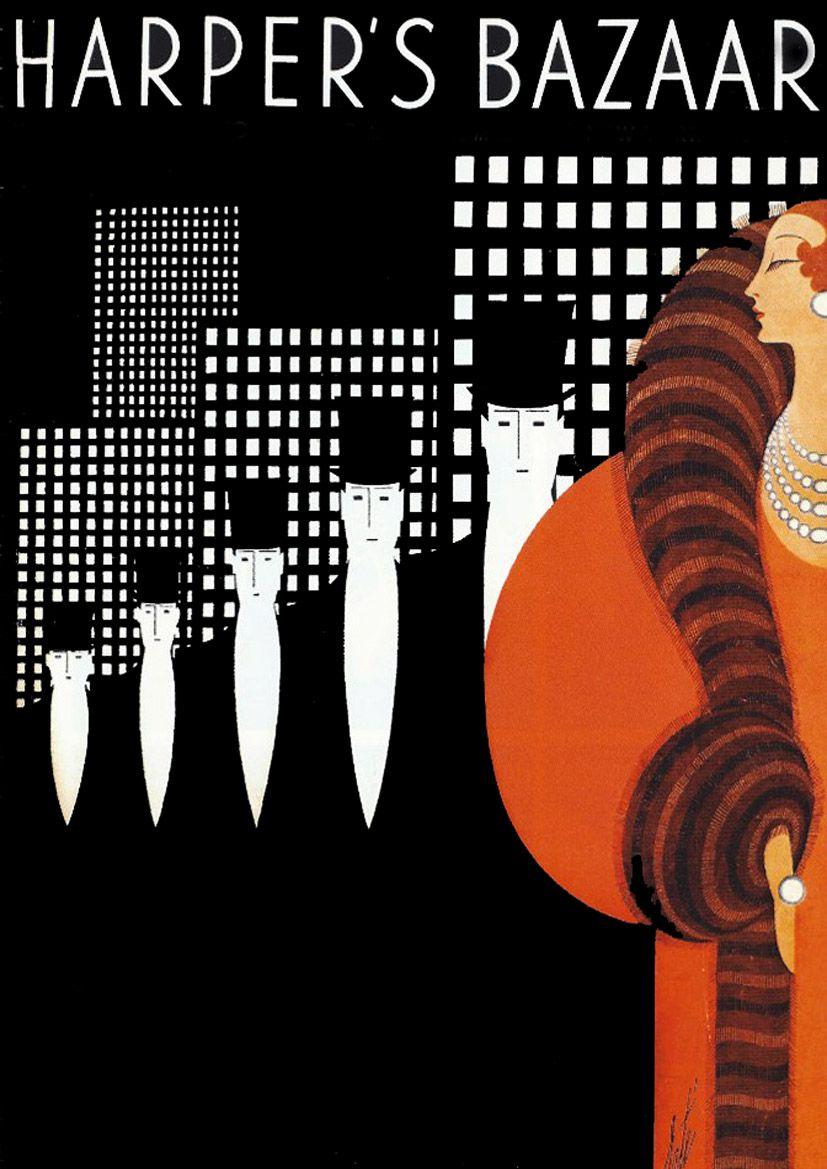 Harpers Bazaar Vintage Magazine Cover Erte Art Deco Woman In Fur Stole