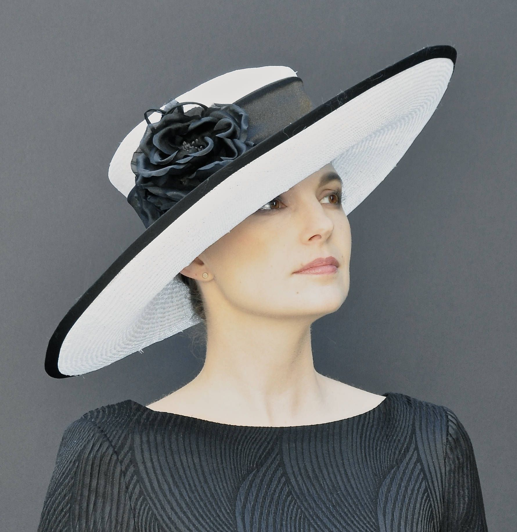 6d48aa9852c6 Kentucky Derby Hat, Wedding Hat, Church Hat, Wide Brim Hat Black and White  Hat, Women's Formal Hat Ascot Hat Special Occasion Hat Event Hat  #womenhatsformal