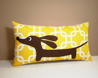 Dachshund Pillow Doxie and Whimsical Bird by persnicketypelican