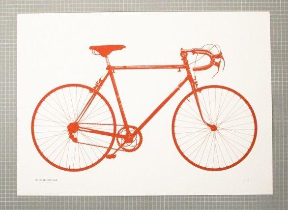 Världsmästarcykeln Orange poster från Jollygoodfellow hos ConfidentLiving se Buy at Confident