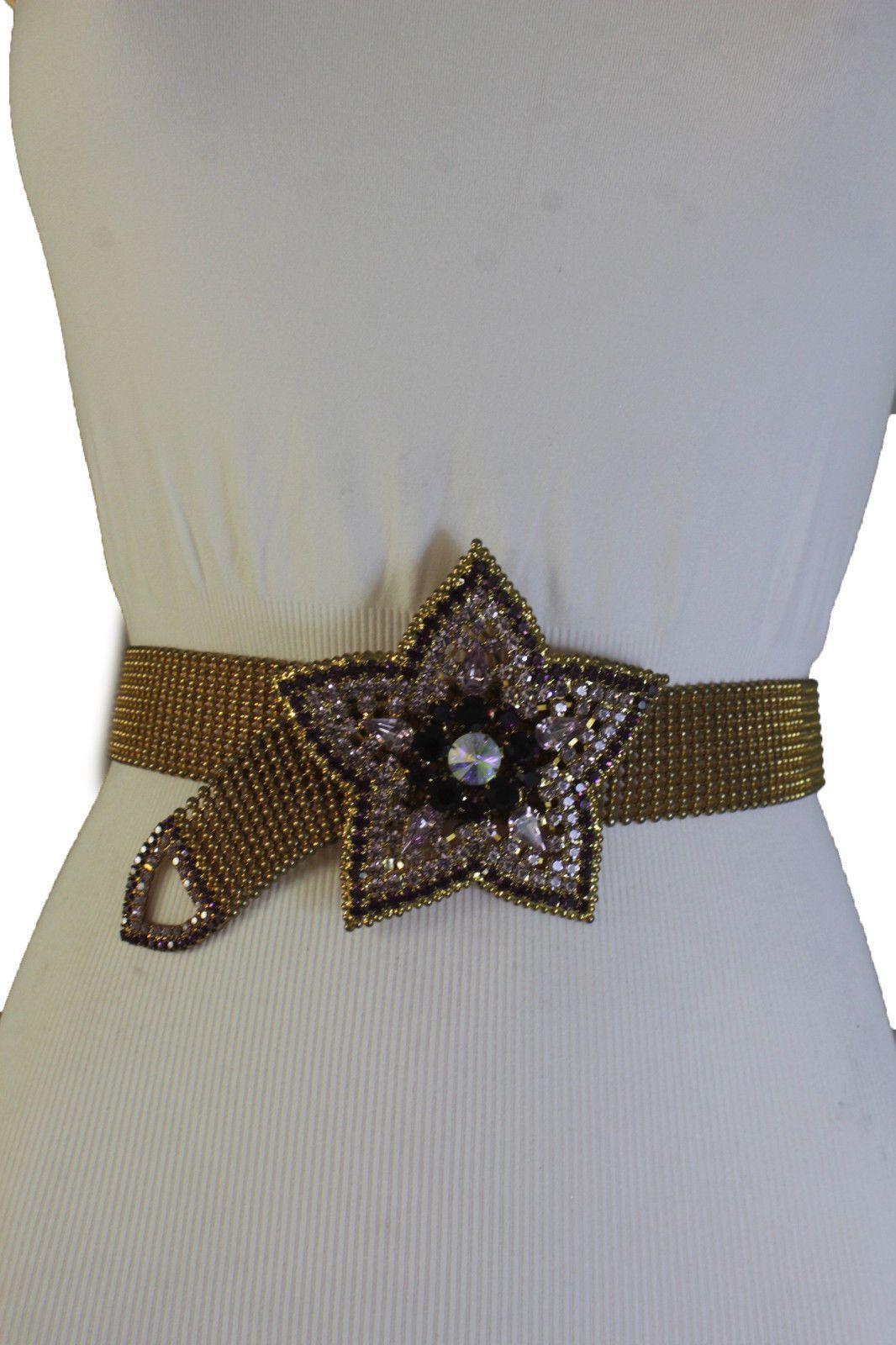 Antique Rusty Gold Metal Belt Purple Red Flower Charm Star