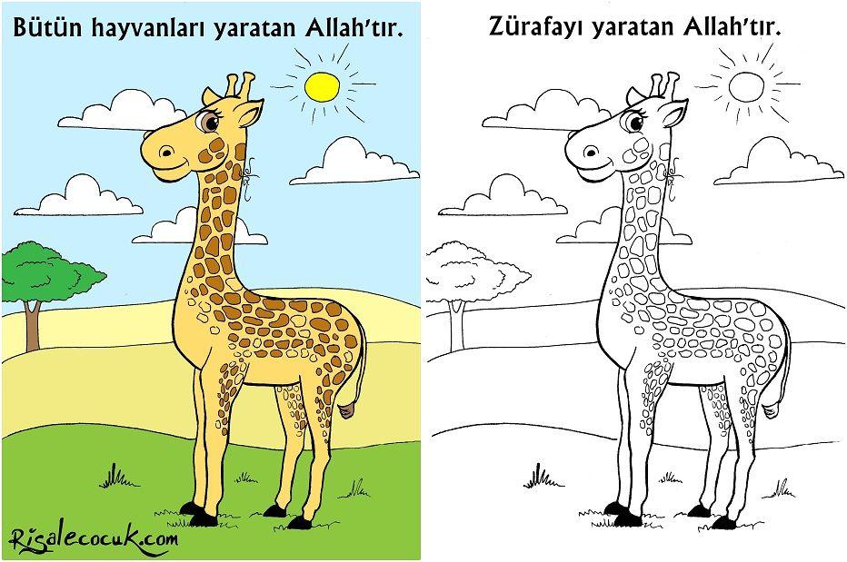 Zurafayi Yaratan Allahtir Boyama Etkinligi Boyamalar Selam Cocuk Zurafa Tintin Anaokulu