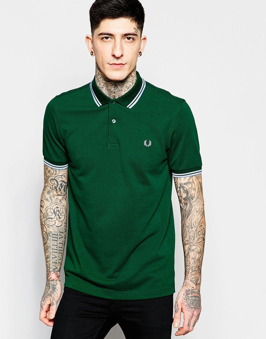 f8fb37d04d653 Fred Perry Polo Shirt with Tipping Slim Fit