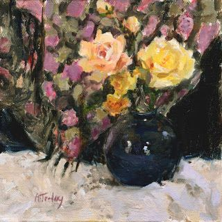 """Alicia Tredway Paintings: """"Flowered Shawl with Roses"""""""