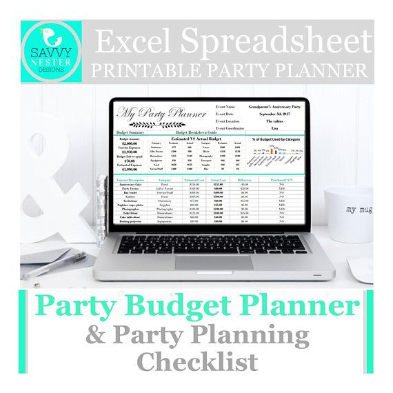 Budget planner, wedding budget, excel spreadsheet, party planner - spreadsheet programs