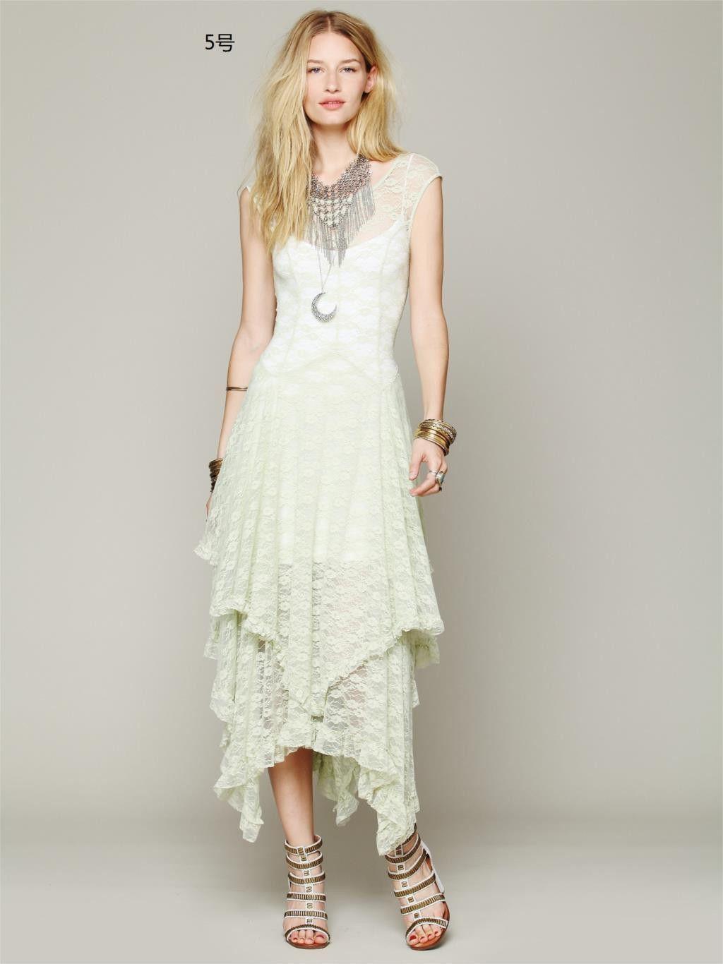 Boho Chic Bohemian Fashion hippie Style Asymmetrical Embroidery ...