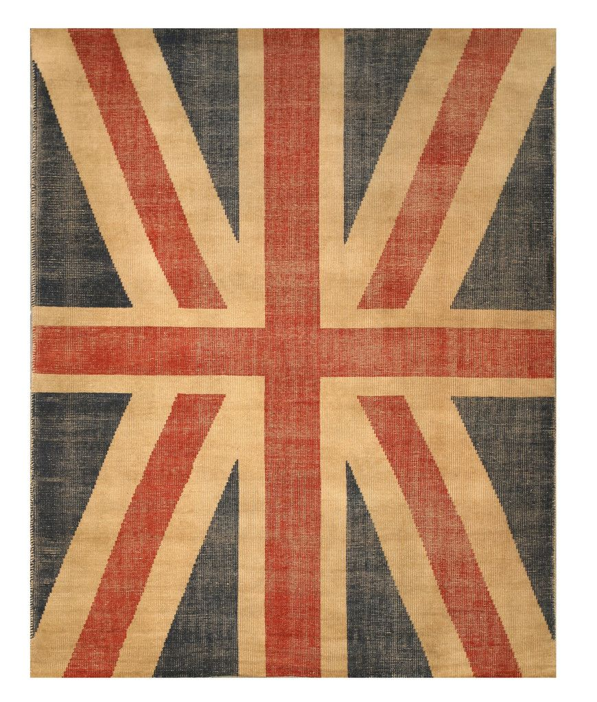 Eorc Ot74rd Red Hand Knotted Wool Union Jack British Flag Rug