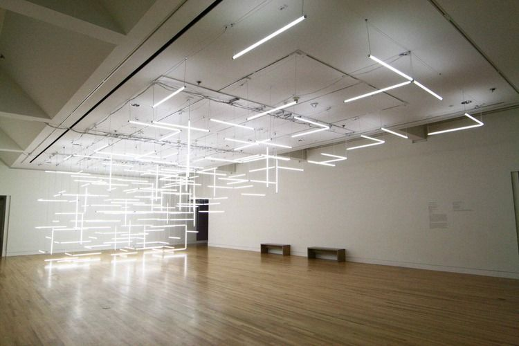 Enthralling Installation Composed Of 200 Suspended Fluorescent