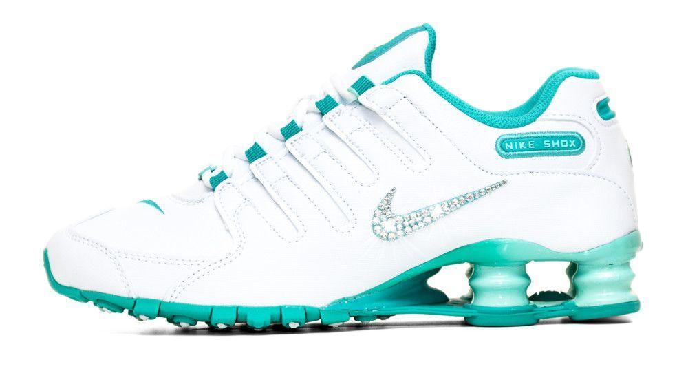 best service 6f894 2f596 Nike Shox Current Glitter Kicks Running Shoes White Teal
