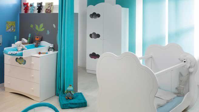 Ambiance contemporaine pour la chambre de b b turquoise photos and bebe for Accessoires garcons turquoise et gris