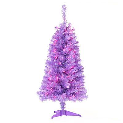 4 pre lit artificial christmas tree purple tinsel purple lights at big lots biglots - Christmas Trees Big Lots