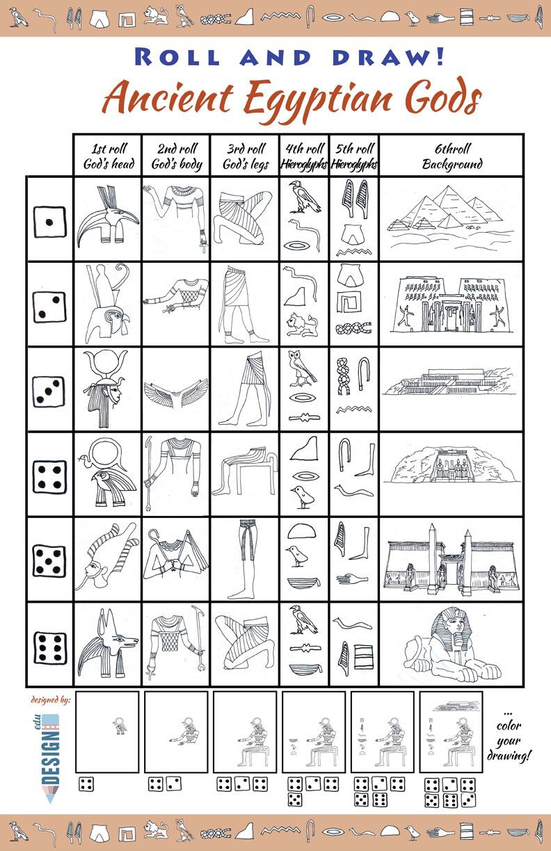 Roll And Draw Ancient Egypt Ancient Egypt Art Ancient Egyptian Gods Ancient Egypt For Kids [ 1224 x 792 Pixel ]