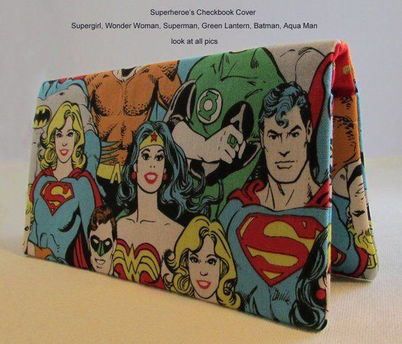 Superhero Checkbook Cover - Superman, Wonder Woman, Supergirl, Green Lantern, Aqua Man, Batman Superhero Gift Idea - DC Comics Check Cover #superherogifts