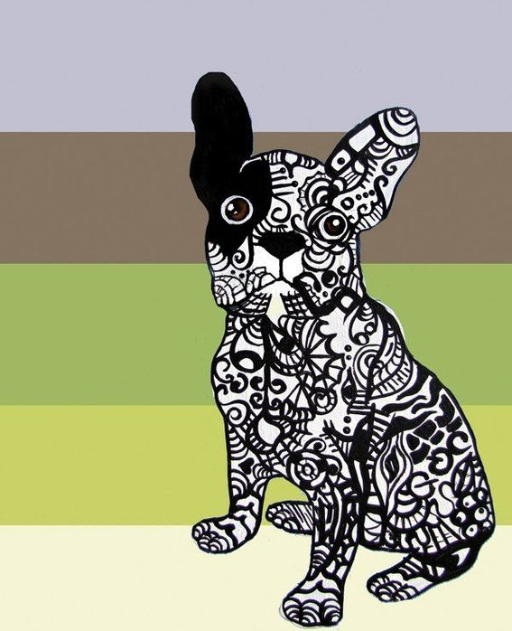 Zentangles of dogs  Green - Neutral - Dog - Modern by