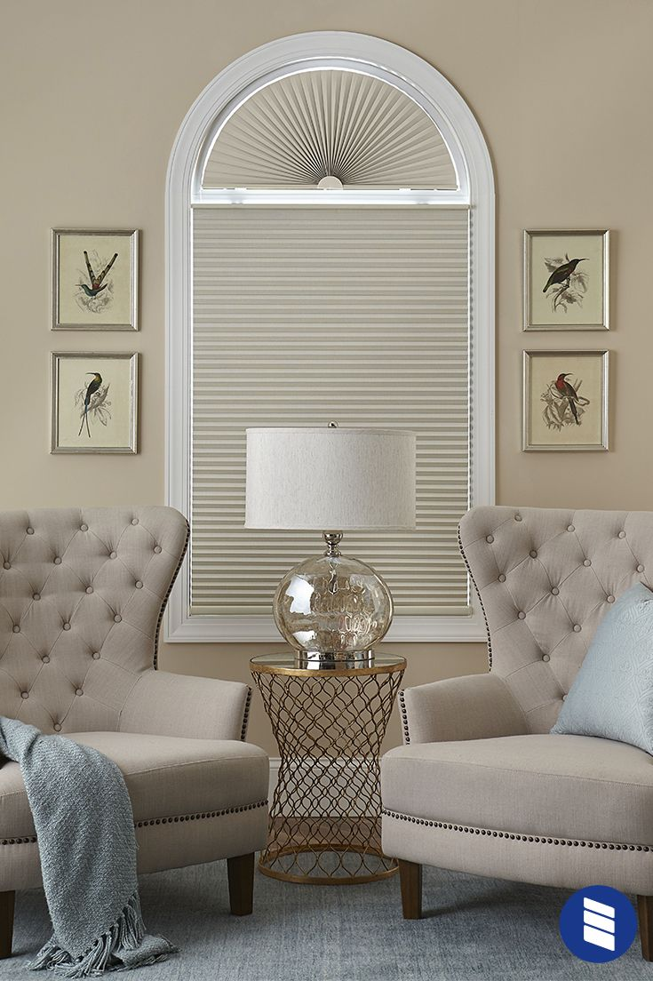 Block Heat And Light On A Tricky Arch Window With Cellular Shades Window Treatments Living Room Bedroom Seating Area Farm House Living Room #shades #for #living #room #windows