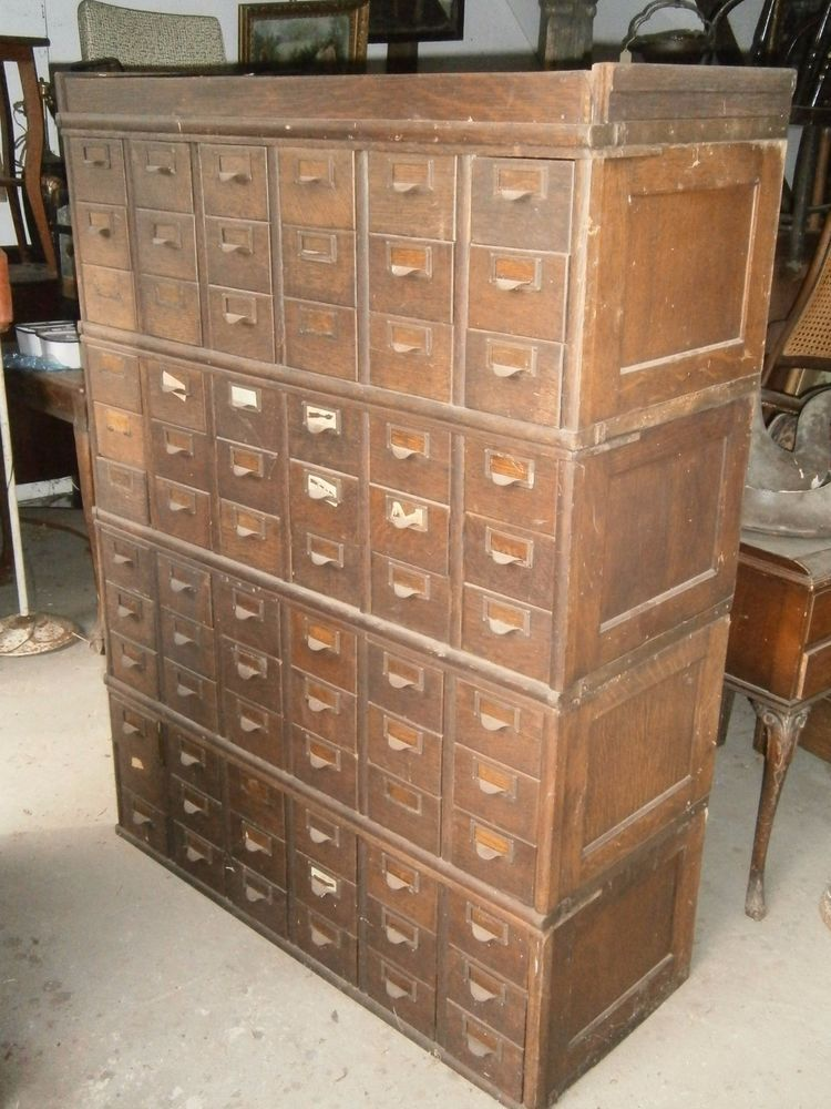 Antique Vintage Oak Library Card Catalog File Cabinet 72 Drawer Globe Stacking Globewernicke