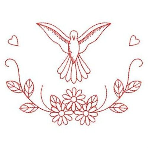 Wind Bell Embroidery Embroidery Design: Redwork Christening Dove 2.83 inches H x 3.83 inches W