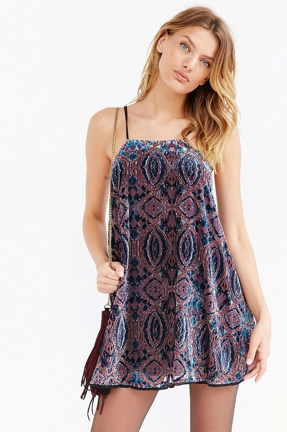 Ecote Burnout Velvet Frock Dress - Urban Outfitters