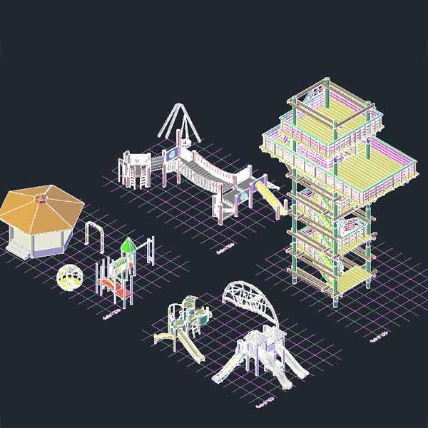AutoCad 3D blocks for landscape, park and playground design