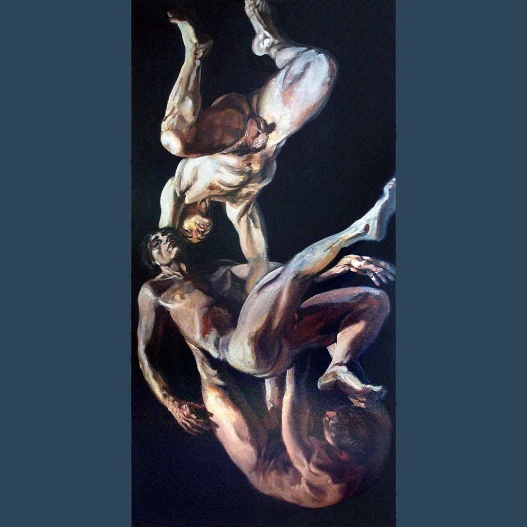 Chute corps tombant peinture a l'huile 1x2m. #painter #oilpainting #figurative #nudemodel