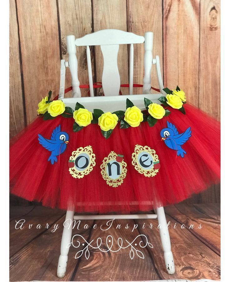 High Chair Tutu, Red & Yellow Highchair Tutu, First Birthday High Chair Banner, Smash Cake Birthday Banner, Chair Cover, Girls 1st Birthday #snowwhite