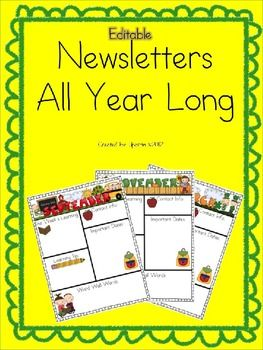$2.95Monthly-themed newsletters - completely editable to suit your classroom!