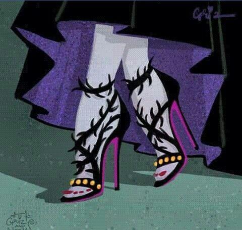 Maleficent in fancy Balenciaga inspired thorn sandals -- GrizandNorm