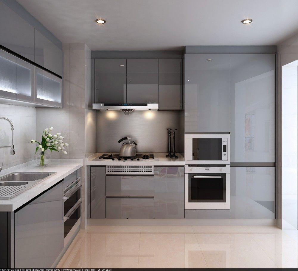 High Gloss Lacquer Cabinet Doors | Square kitchen layout ...