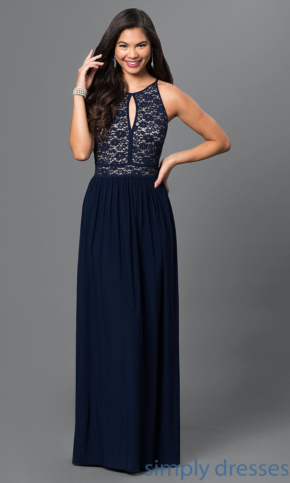 Morgan Floor-Length Navy-Blue Lace-Top Gown | Seabee Ball ...