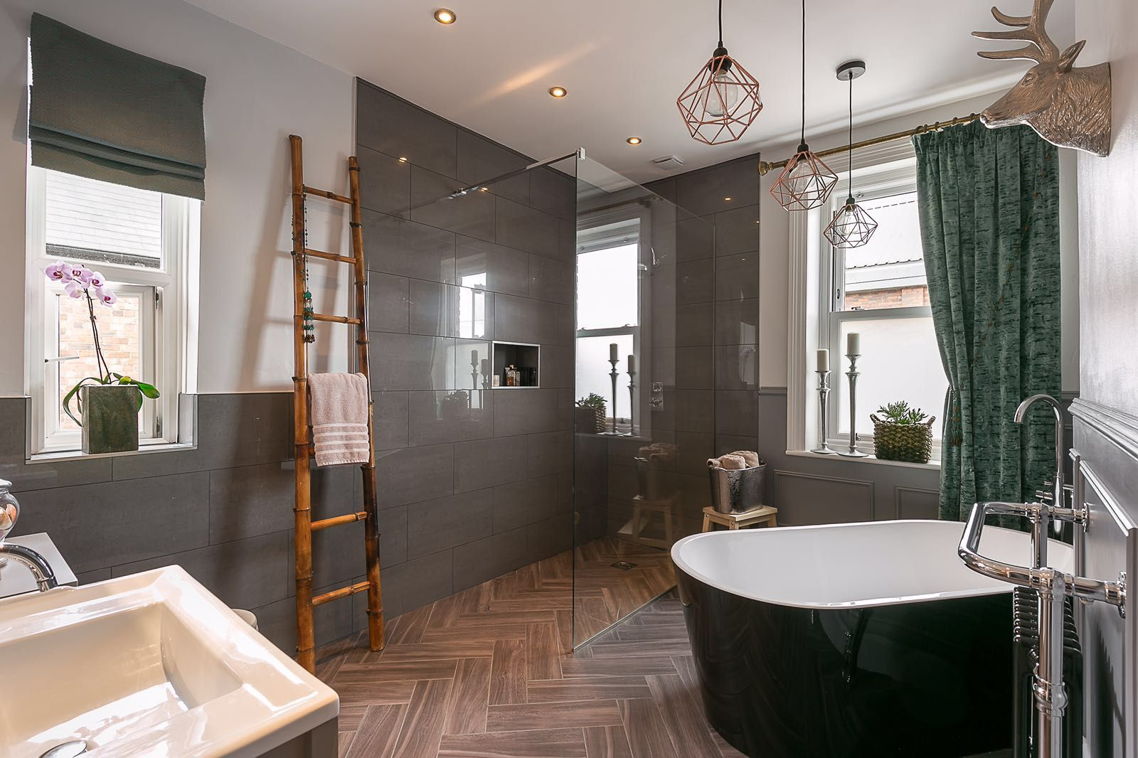 Grey Bathroom with Wet Room and freestanding Bathtub ... on Wet Room With Freestanding Tub  id=61128