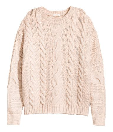 Light beige melange. Soft cable-knit sweater with dropped ...
