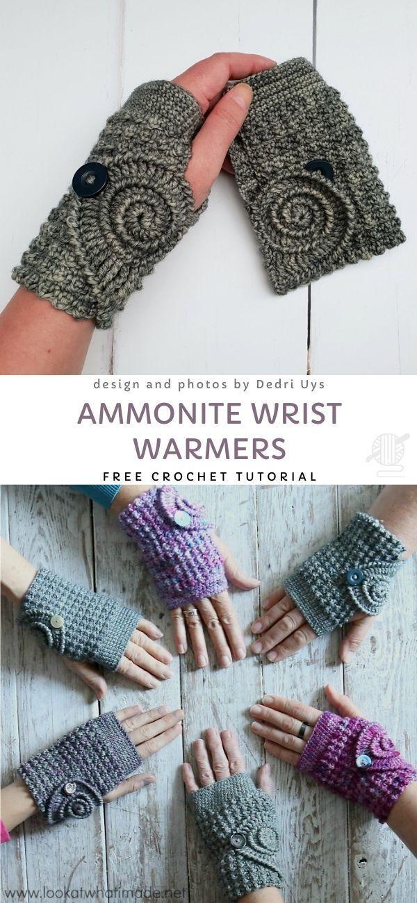 Photo of Ammonite Wrist Warmers Free Crochet Pattern