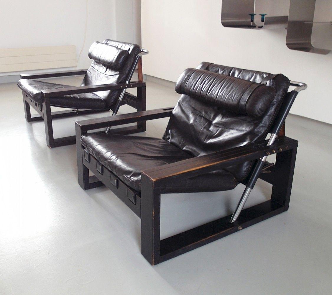 Pair Of Brutalist Lounge Chairs By Sonja Wasseur In Oak Leather  # Muebles Dakota Caracas