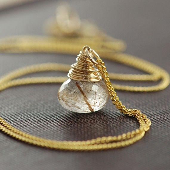 14K Gold Filled Wire Wrap Rutilated Quartz Pendant Hand Wrapped Stone Hand Wrap Wire Wrapped