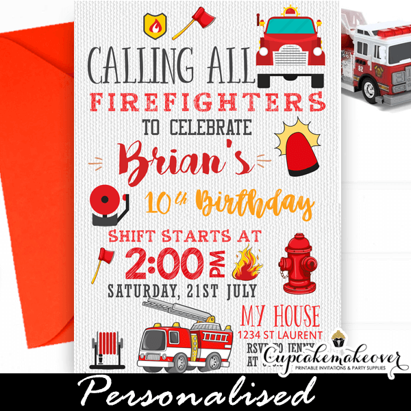 Fireman Invitation Firetruck Firefighters birthday party Fireman Fire truck invite invitation birthday card Firefighters
